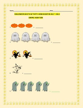 HALLOWEEN MATH: SIMPLE ADDITION: K & 1