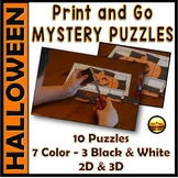 HALLOWEEN Map Grid Activity Puzzles Worksheet Set