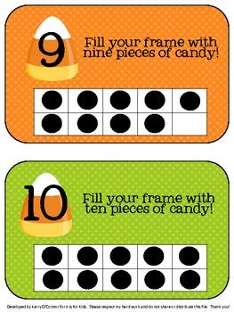 HALLOWEEN Math Center - Candy Corn Ten Frames