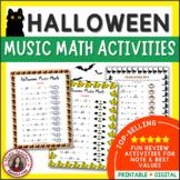 HALLOWEEN Music Activities: Music Math Worksheets
