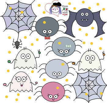 HALLOWEEN PACK - MIX BW/COLOUR CLIPART - FREE - spiders, ghosts, webs and bats