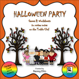 Halloween Party - Games & Worksheets to Review Notes on the Treble Clef
