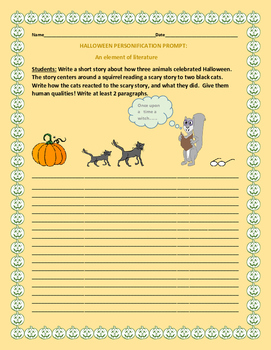 HALLOWEEN PERSONIFICATION ACTIVITY/ AN ELEMENT OF LITERATURE ACTIVITY