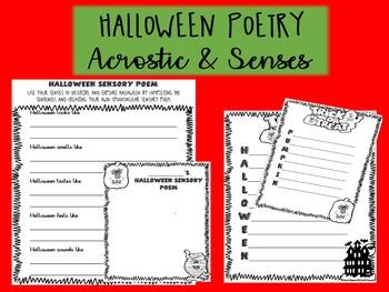 HALLOWEEN ENGLISH POETRY - senses and acrostic poetry