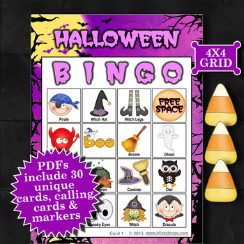 HALLOWEEN - PURPLE 4x4 BINGO