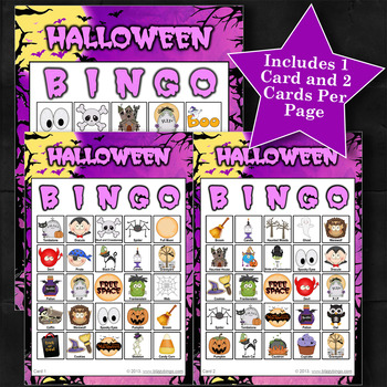 HALLOWEEN - PURPLE 5x5 BINGO - 60 CARDS
