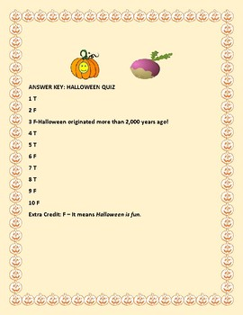 HALLOWEEN QUIZ: INTERESTING FACTS: W/ ANSWER KEY