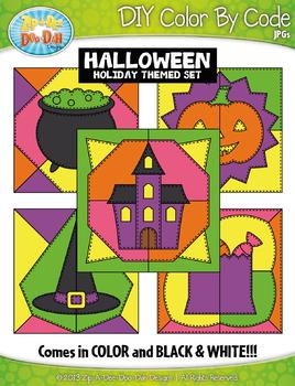 HALLOWEEN Quilt Color By Code Clipart {Zip-A-Dee-Doo-Dah Designs}