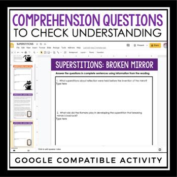 HALLOWEEN READING COMPREHENSION DIGITAL PAPERLESS GOOGLE