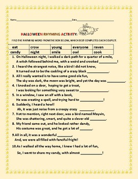 HALLOWEEN RHYMING ACTIVITY