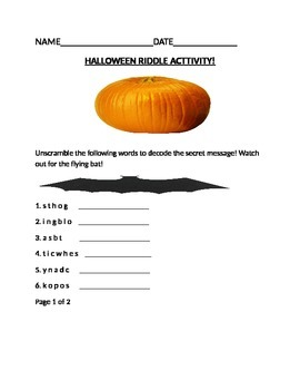 HALLOWEEN RIDDLE ACTIVITY