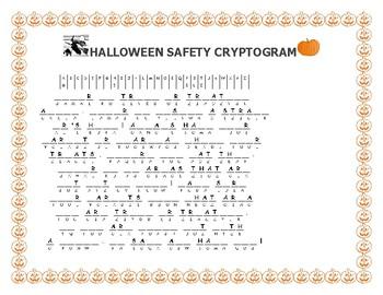 HALLOWEEN SAFETY CRYPTOGRAM