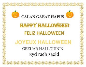 HALLOWEEN SIGN FOR CLASSROOM, DOOR, OR WALL: 6 LANGUAGES