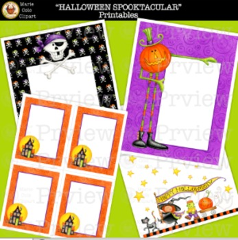 "HALLOWEEN ""SPOOKTACULAR"" PRINTABLES [Marie Cole Clipart]"