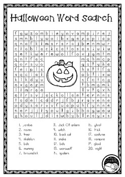 HALLOWEEN SPOOKY word search sleuth
