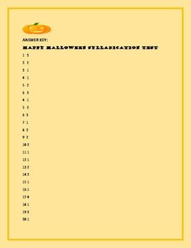 HALLOWEEN SYLLABICATION TEST/FELIZ HALLOWEEN: 2-5, ESL