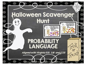 HALLOWEEN Scavenger Hunt Probability Language VIRGINIA SOL 3.18