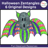 Halloween Zentangle Coloring Pages