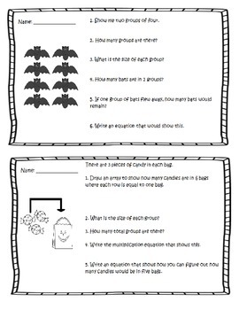 HALLOWEEN THEME 3RD Grade Operations & Algebraic Thinking Task Cards / Seat Work