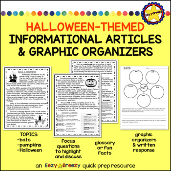 HALLOWEEN THEMED ARTICLES and graphic organizers
