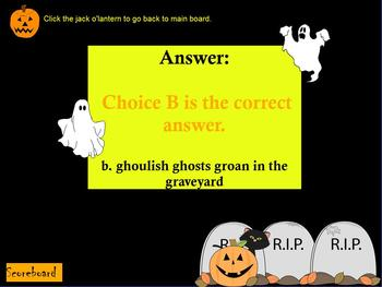 HALLOWEEN THEMED FIGURATIVE LANGUAGE JEOPARDY GAME ~ SIMILES & MORE ~ ELA, ELL