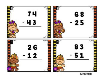 HALLOWEEN Task Cards : Subtraction