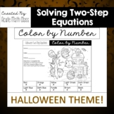 Halloween - Two-Step Equations Coloring Activity