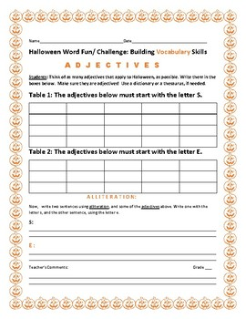 HALLOWEEN VOCABULARY ACTIVITY: ADJECTIVES & ALLITERATION