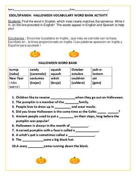 HALLOWEEN VOCABULARY ACTIVITY:  ESL /SPANISH