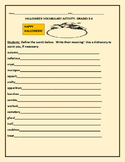 HALLOWEEN VOCABULARY/DICTIONARY  ACTIVITY: ESL, GRADES 3-6, MG