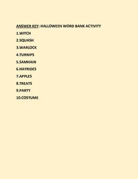 HALLOWEEN WORD BANK ACTIVITY!