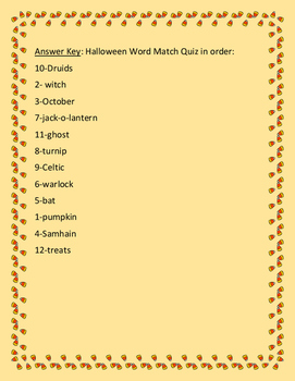 HALLOWEEN WORD MATCH QUIZ- GRADES 4-7, A VOCABULARY FUN ACTIVITY