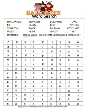 HALLOWEEN WORD SEARCH :)