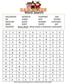 HALLOWEEN WORD SEARCH :)