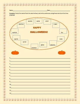 HALLOWEEN WORD WHEEL ACTIVITY