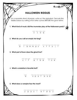 HALLOWEEN WORKSHEET: Decode the Riddles