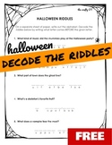 HALLOWEEN WORKSHEET: Decode the Riddles