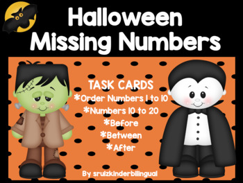 HALLOWEEN WRITE THE ROOM ~ MISSING NUMBERS~ Before, Between, After