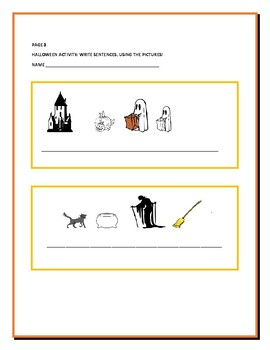 HALLOWEEN WRITING ACTIVITY: CREATE SENTENCES W/PICTURES: ESL, GRS.2-5