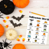 HALLOWEEN Word List for Writing Center