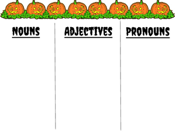 HALLOWEEN themed Parts of Speech practice!