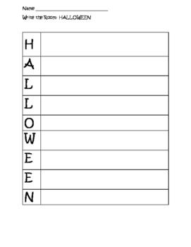 HALLOWEEN write the room - BLANK