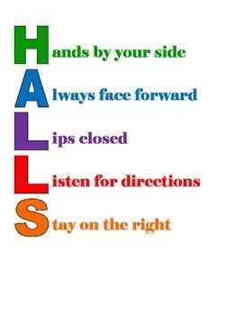 HALLS Hallway Directions Sign