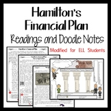 HAMILTON'S FINANCIAL PLAN  Reading and Doodle Notes FOR ELL STUDENTS