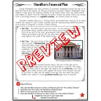 HAMILTON'S FINANCIAL PLAN  Reading and Cartoon Notes FOR ELL STUDENTS