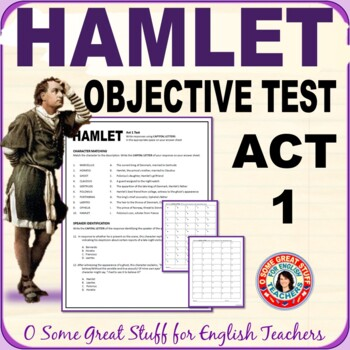 HAMLET ACT 1 OBJECTIVE TEST Matching and Multiple Choice with Answer Sheet