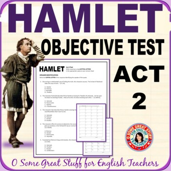 HAMLET ACT 2 OBJECTIVE TEST Multiple Choice with Answer Sheet