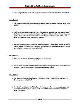 HAMLET Guided Reading Worksheet