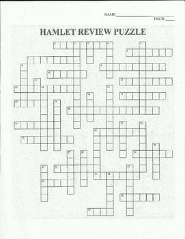 HAMLET REVIEW- SHAKESPEARE -  CROSSWORD ACTIVITY