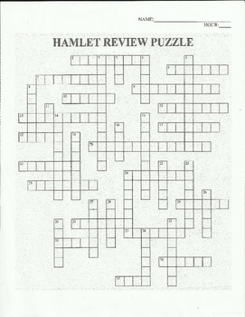 HAMLET REVIEW- SHAKESPEARE -  CROSSWORD ACTIVITY